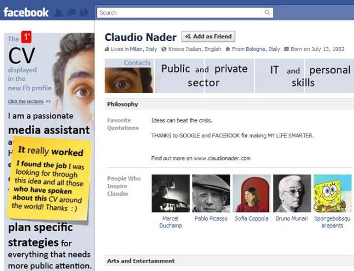 Claudio Nader's used social media to land a job