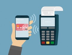 Vector illustration of mobile payment via smartphone.